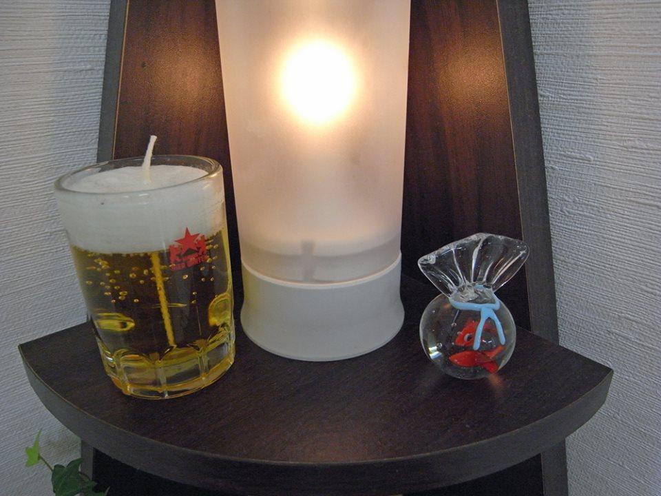 金魚とビールのキャンドル